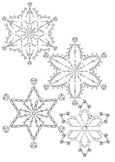 15 crochet snowflakes patterns- free patterns – Turcoaz cu Vanilie - Her Crochet Free Crochet Snowflake Patterns, Christmas Crochet Patterns, Crochet Christmas Ornaments, Crochet Stars, Crochet Snowflakes, Holiday Crochet, Doily Patterns, Christmas Knitting, Thread Crochet