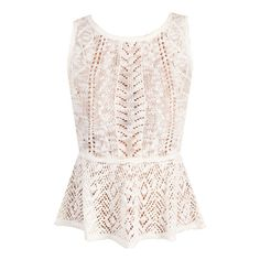 Ivory Crochet Peplum Top - WindsorStore.com ❤ liked on Polyvore featuring tops, shirts, blusas, tank tops, crochet tank, crochet tops, ivory shirt, pink shirt and peplum tops