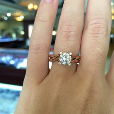 pink gold diamond solitaire engagement rings from a.jaffe