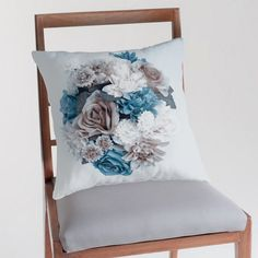 #blue #flowers #floral #homedecor FLOWER PILLOW COVER Blue and Taupe vintage style by UniqueArtHome