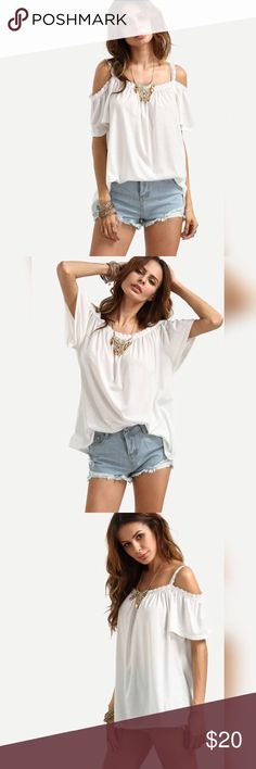 White Lace Trimmed Cold Shoulder Top Super cute white lace trimmed shoulder top. Perfect for summer outings💞 Shein Tops Tees - Short Sleeve