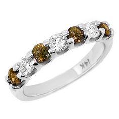 Champagne & White Diamond Wedding Ring