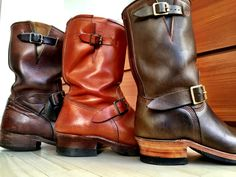 My personal collection of Engineer Boots. Left to right, Road Champs by Mister Freedom, Loftgren by John Loftgren, Role Club by Brian the Boot Maker