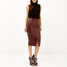 Brown leather-look split front skirt - £32.00 #riverisland