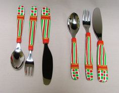 Appetizer/Cocktail Mini Two 3-Piece Sets -  Tasting Fork, Spoon, Spreader, Red Green White Striped Polymer Clay Decorated Utensil by SeajayDesigns on Etsy