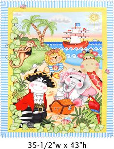 Bazooples pirate blanket: cotton panel front with flannel back Quilting Stencils, Quilting Rulers, Longarm Quilting, Machine Quilting, Quilting Blogs, Quilting Classes, Quilting Designs, Baby Quilt Panels, Panel Quilts