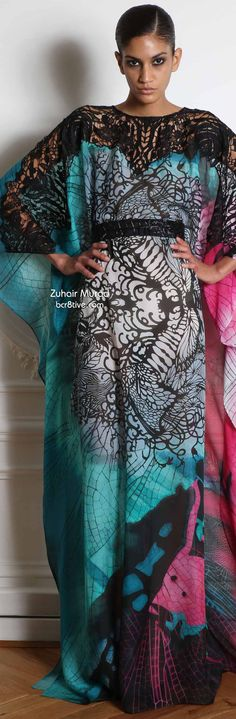 Zuhair Murad Fall 2014-15 Ready to Wear multi color caftan with black lace shoulders