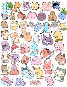 8.5x11 sheet of self-cut stickers on glossy paper, featuring Pokemon from 1st generation to 5th generation.