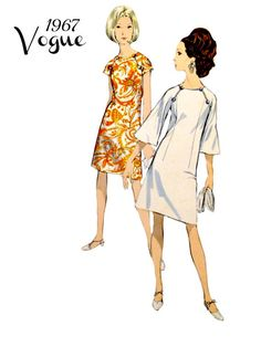 60s Vogue 7064 Pattern A Line Dress Easy to by VintageNeedleFinds, $22.00