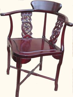Oriental Furnishings   Rosewood Oriental Corner Chair Hand Carved Bird And  Flower Design