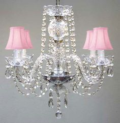 G46-PINKSHADES/275/4 Murano Venetian Style  MURANO VENETIAN STYLE ALL-CRYSTAL CHANDELIER WITH SHADES!
