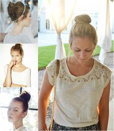 fashion and trend top knot by clip in straight human hair extension
