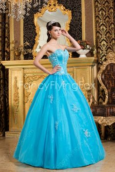 Simple Sweetheart Ball Gown Floor Length Blue Sweet 15 Dresses Lace Up Back  $185.00