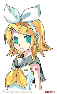 How to Draw Rin Kagamine from Vocaloid step 11