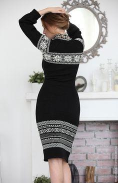"""Купить Платье """"Норвежские узоры"""" - чёрно-белый, скандинавский орнамент, скандинавские узоры, олени"""