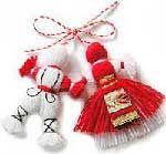 "Pizho and Penda - popular traditional Bulgarian tassel dolls ""Pizho"" in white (man) and ""Penda"" in red (women)."