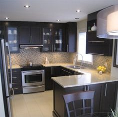 Very small kitchen design ideas that looks bigger and modern #kitchen… More