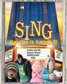 SING Birthday Invitation  Printable Sing Invitation  Boy or