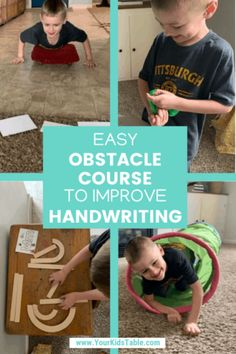 Easy Obstacle Course to Improve Handwriting - Your Kid's Table - Does your child need some help with their handwriting, fine motor, and letter recognition skills? Learning Activities, Toddler Activities, Indoor Activities, Teaching Resources, Learning Tools, Water Games For Kids, Summer Activities For Kids, Child Development Activities