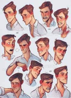 Faces by Natello on DeviantArt Character Design Animation, Character Design References, Character Drawing, Guy Drawing, Drawing Poses, Male Face Drawing, Cartoon Drawings, Cartoon Art, Drawing Face Expressions