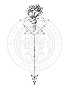 Rose & Arrow Tattoo design I did for giz-khalifaa Can't wait to see what it lo. - Rose & Arrow Tattoo design I did for giz-khalifaa Can't wait to see what it looks like when it' - Arrow Tattoo Ribs, Bow Arrow Tattoos, Infinity Arrow Tattoo, Arrow Tattoos For Women, Dragon Tattoo For Women, Back Tattoo, Tattoos For Guys, Wolf Tattoos, Finger Tattoos