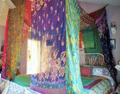 Gypsy bohemian bed canopy made by Babylon Sisters. Create a bohemian haven wherever in the world you happen to be..  Easy to hang from hooks in