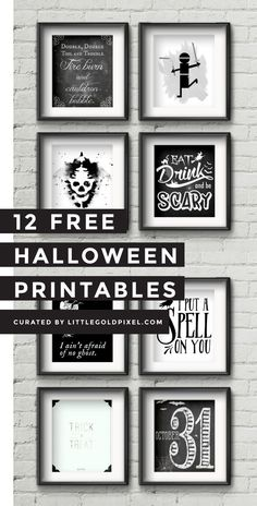 Kostenlose Halloween Printables für die Last-Minute-Dekoration. In which I round up 12 free Halloween printables to decorate your house last-minute and still look like you had it together. Halloween Tags, Happy Halloween, Theme Halloween, Halloween Poster, Dollar Store Halloween, Holidays Halloween, Halloween Crafts, Vintage Halloween, Halloween Cupcakes