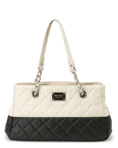 """Handbags & Bags - NINE WEST 8"""" Ivory Colorblock Quilted Bag"""