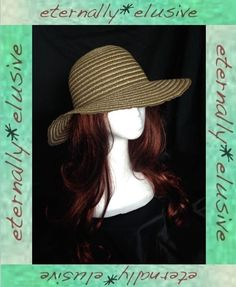 Brown& Metallic Gold Lame 70s Vintage Style Floppy Sun Hat Women Ladies Festival