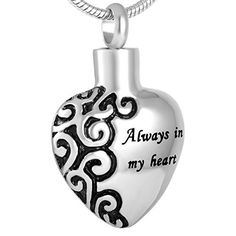 "Life Lockets Cremation Jewelry ""Always in My Heart"" Necklace (Silver) - A Unique Cremation Urn Keepsake."