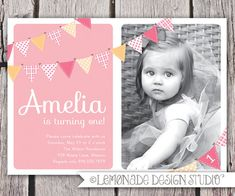 First Birthday Invitation Bunting Flags door LemonadeDesignStudio