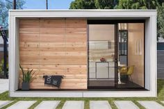 """Plús Hús is an Icelandic-inspired tiny prefab cabin by Minarc, that can go up in one's backyard as an accessory dwelling unit (ADU or """"secondary suites""""). Prefab Cabins, Prefab Homes, Modular Homes, Tiny Homes, Prefab Tiny Houses, Backyard Office, Garden Office, Backyard Studio, Modern Backyard"""