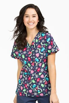 "Med Couture Peaches Anna Print Top in ""Bundle Up"" from Med Couture Scrubs"