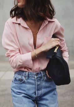 pink shirt. vintage denim. street style.