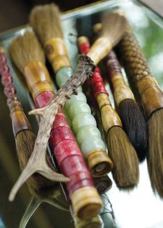 """Beautiful!  from the site:""""A collection of antique Chinese calligraphy brushes may inspire your inner artist.    BUYING GUIDE  Chinese calligraphy brushes, reproduction, $45-$75-Antique & Design."""""""