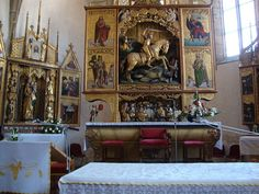 Church of St George - gothic wooden altar by Paul from Levoca Carousel, Altar, Gothic, Saints, Fair Grounds, Painting, Travel, Goth, Viajes