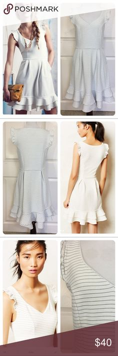 Anthropologie Maeve Sunland Dress Anthropologie Maeve Sunland Dress. Nothing sets off sun kissed skin quite like white and ivory tones. Pair Maeve's flouncy frock with sparkly sandals and a messy updo.  Side zipper. No flaws noted. Anthropologie Dresses
