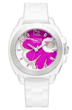 Boyfriend Poppy Print Rubber Strap Watch, 39mm   Coach
