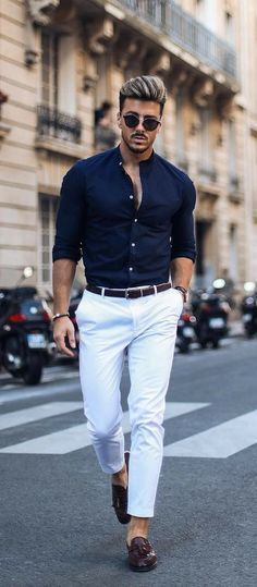 9 Minimal Business Casual Outfits For Men Business casual men Mens Dress Outfits, Formal Men Outfit, Stylish Mens Outfits, Business Casual Outfits, Men Dress, Work Outfits, Formal Dresses For Men, White Pants Outfit Mens, Smart Business Casual Men