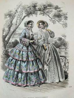 Victorian Era, Victorian Fashion, 19th Century Fashion, Women's Fashion, Fashion Outfits, Bohemian Gypsy, Western Outfits, Fashion Plates, Hand Coloring