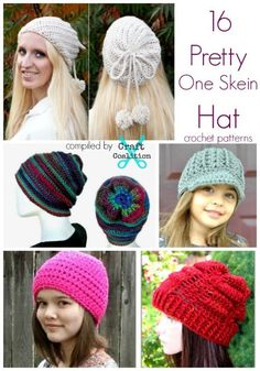 16 Pretty One Skein Hat crochet patterns and they are all FREE   CraftCoalition.com