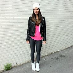Zara Leather Jacket, American Eagle Yoga Top, American Eagle Yoga Pants, Nike Sneaker Wedges