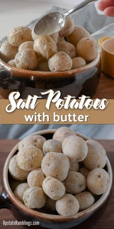 Salt Potatoes are a staple recipe in upstate New York. These creamy, buttery, bite sized potatoes are simple to make and delicious, especially covered in melted butter. They make an amazing addition to your outdoor barbecue or cookout. Side Dishes For Bbq, Vegetable Side Dishes, Side Dish Recipes, Vegetable Entrees, Main Dishes, Potato Recipes, Fun Cooking, Cooking Recipes, Bon Appetit