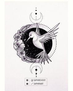 @Saphirevicky on instagram - hummingbird tattoo design for my friend's girlfriend :)