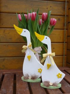Decorative objects - Spring geese - Set - a unique product by Creative-Holz at ...  #creative #CreativeHolz #decorative #Dekoholz #geese #objects #product #Set #spring #unique