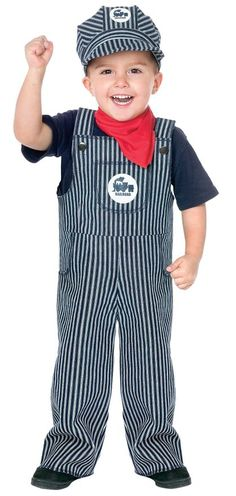 Fun World Costumes Baby's Train Engineer Toddler Costume, Blue/White, Large(3T-4T)