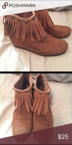 Mossimo Fringe Moccasin Wedge w/ Gold Studs Fringe Moccasin Wedge w/ Gold Studs Mossimo Supply Co. Shoes Moccasins