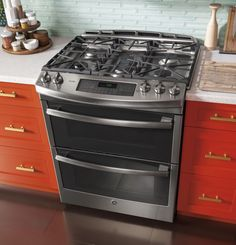 "GE Profile 30"" Stainless Steel Gas Slide-In Double Oven Range - Convection"