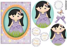 Little princess purple on Craftsuprint designed by Andrea Hippenstiel - 5 x 7 inch card topper sentiments used happy birthday, little princess, just for you and one blank - Now available for download!