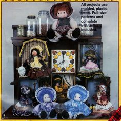 Calico Dolls for decor Plaid #7724 Booklet (7 different beautiful dolls).  #fabpatterns1015  #sharpharmade